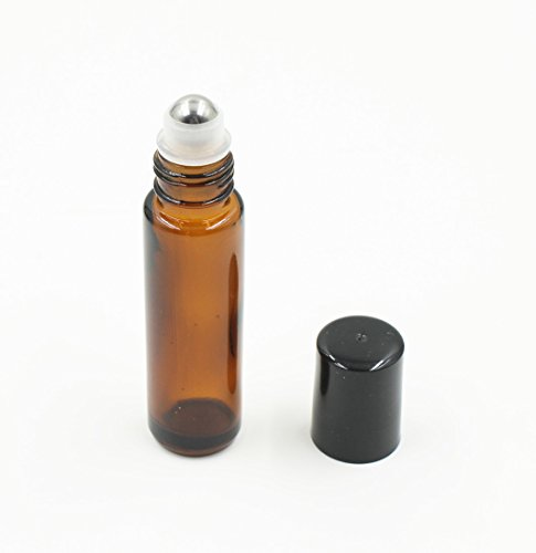 10ml Amber Glass Metal Roll-on Bottle with Black Cap